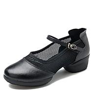 baratos Sapatilhas de Dança-Mulheres Tênis de Dança Arrastão / Pele Napa Têni Salto Baixo Sapatos de Dança Preto / Vermelho