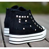 נשים נעליים קנבס אביב סתיו נוחות נעלי ספורט עבור קזו'אל לבן שחור