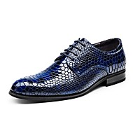 Homme Chaussures Cuir Cuir Verni Printemps Eté Automne Hiver Confort Oxfords Lacet Pour Mariage Décontracté Soirée & Evénement Noir Bleu