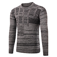 Herrer Simpel Sport I-byen-tøj Afslappet/Hverdag Normal Pullover Ensfarvet,Rund hals Langærmet Uld Efterår Vinter Medium Elastisk