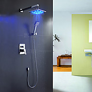 Modern/Contemporary Modern Style LED Wall Mounted Rain Shower Handshower Included Ceramic Valve Chrome , Shower Faucet