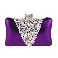 Women's Bags Polyester Evening Bag Rhinestone / Pearls Black / Silver / Purple