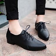 Damen Schuhe PU Frühling Komfort High Heels Niedriger Absatz Spitze Zehe Für Normal Schwarz Braun