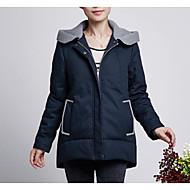 Dámské S vycpávkou Jednoduché Běžné/Denní Jednobarevné-Kabát Polyester Bavlna Dlouhý rukáv