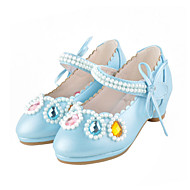 cheap Girls' Shoes-Girls' Flats Comfort Novelty Flower Girl Shoes Fall Winter Leatherette Casual Dress Crystal Flat Heel Blushing Pink Blue White Flat