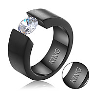 Titanium Diamond Men's ring Europe simple color zircon stainless steel ring