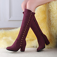 Women's Shoes PU Fall Winter Comfort Boots Wedge Heel Round Toe For Casual Black Blue Burgundy
