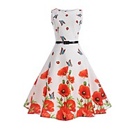 Women's Floral Daily Holiday Work Vintage Sheath Swing Dress - Floral Butterfly, Print Summer Cotton White L XL XXL