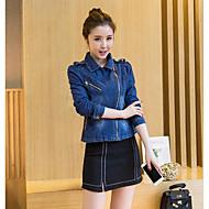 Mulheres Curto Jaqueta jeans Diário Simples Casual Primavera, Sólido Algodão Decote Quadrado