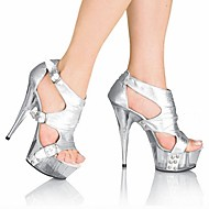 cheap Plus Size Shoes-Women's Shoes PU(Polyurethane) Summer Formal Shoes Sandals Stiletto Heel Peep Toe Crystal / Buckle Black / Silver / Red / Party & Evening