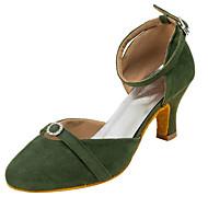 """billige Moderne sko-Dame Moderne Fleece Sandaler Ytelse Krystall / Rhinestone Kubansk hæl Militærgrønn Rosa 2 """"- 2 3/4"""" Kan spesialtilpasses"""