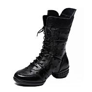 baratos Sapatilhas de Dança-Mulheres Botas de Dança Pele Napa Botas / Meia Solas Saiu ao lado Salto Baixo Sapatos de Dança Preto / Vermelho