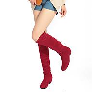 Для женщин Обувь Бархатистая отделка Лакированная кожа Осень Зима Модная обувь Ботинки На толстом каблуке Круглый носок Сапоги до колена
