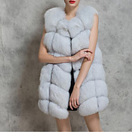 Women's Plus Size Casual/Daily Street chic Fall Winter Fur Coat,Solid V Neck Sleeveless Long Faux Fur Fox Fur