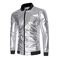 Men's Daily Fall / Winter Regular Jacket, Color Block Stand Long Sleeve Polyester Gold / Black / Silver M / L / XL