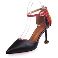 Mulheres Sapatos Couro Ecológico Outono Plataforma Básica Saltos Salto Agulha Dedo Apontado Combinação para Social Preto Bege