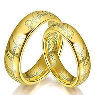 לזוג טבעת הטבעת פלדת טיטניום אופנתי Fashion Ring תכשיטים זהב / שחור / כסף עבור חתונה יומי נשף מסכות מסיבה אלגנטית נשף רקודים 6 / 7 / 8 / 9 / 10