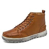 Men's Shoes Real Leather PU Leather Fall Winter Comfort Bootie Sneakers Booties/Ankle Boots Lace-up For Casual Outdoor Brown Black