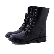 Women's Shoes PU Winter Combat Boots Boots Flat Heel Booties/Ankle Boots For Casual Black