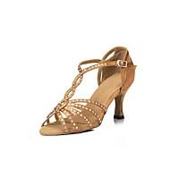 baratos Sapatilhas de Dança-Mulheres Sapatos de Dança Latina Cetim Sandália Presilha / Cruzado Salto Cubano Personalizável Sapatos de Dança Preto / Marron / Vermelho