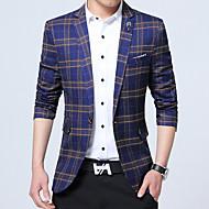 メンズ ワーク プラスサイズ 秋 冬 ブレザー,シンプル Vネック チェック レギュラー コットン 長袖