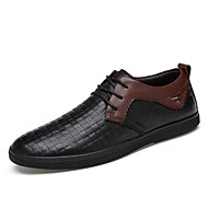 Pánské Obuv Pravá kůže Nappa Leather Kůže Jaro Podzim Pohodlné Společenské boty Potápěčské boty Oxfordské Šněrování Pro Ležérní Černá