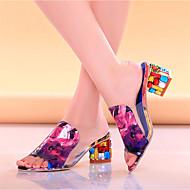 baratos Sapatos Femininos-Mulheres Couro Ecológico Verão Chanel Sandálias Salto Robusto Branco / Preto / Roxo