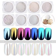 7bottles / sett nail art shining pulver speil effekt shimmer spiker diy fargerike dekorasjoner