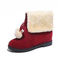 baratos Sapatos Femininos-Mulheres Sapatos Couro Outono / Inverno Conforto / Botas da Moda / Coturnos Botas Caminhada Sem Salto Cadarço / Pom Pom Preto / Olive