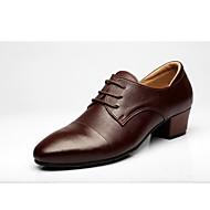 billige Sko til latindans-Herre Latin Egte Lær Oxford Utendørs Tvinning Tykk hæl Mørkebrun 3 cm