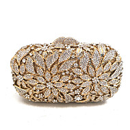 Women Bags Spring Fall Metal Evening Bag Crystal Detailing for Wedding Event/Party Gold