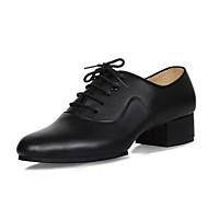 "billige Sko til latindans-Herre Latin Lær Oxford Innendørs Tykk hæl Svart 1 ""- 1 3/4"""