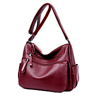 Women Bags All Seasons PU Shoulder Bag Pockets Zipper for Casual Office & Career Blue Black Purple Wine