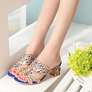 baratos Sapatos Femininos-Mulheres Sapatos Couro Ecológico Primavera Solados com Luzes Sandálias Salto de bloco Dedo Aberto Gliter com Brilho Bege / Verde / Azul