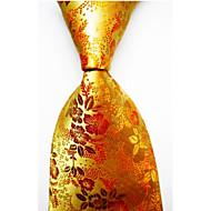 Bărbați Cu Dungi Toate Sezoanele Dungi Poliester,Cravată Auriu