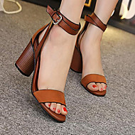 Women's Shoes PU Summer Comfort Sandals Chunky Heel Open Toe For Casual Black Brown