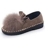 Feminino Sapatos Couro Ecológico Outono Conforto Rasos Rasteiro Ponta Redonda Para Casual Preto Verde Khaki