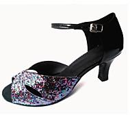 baratos Sapatilhas de Dança-Mulheres Latina Glitter Couro Ecológico Sandália Interior Salto Personalizado Preto Roxo Rosa/Preto Vermelho