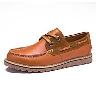Férfi Vitorlás cipők Kényelmes Formai cipő Búvárcipő Tavasz Ősz Valódi bőr Nappa Leather Bőr Hétköznapi Fűző Lapos Sötétkék Világosbarna