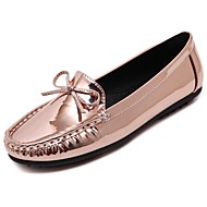 Women's Shoes PU Spring Fall Moccasin Loafers & Slip-Ons Flat Heel for Casual Black Silver Champagne