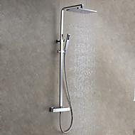 billige Rabatt Kraner-Moderne Moderne Stil Vægmonteret Regnfall Regndusj Hånddusj Inkludert Keramisk Ventil Krom, Dusjkran