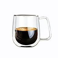 250 ml cafea lapte de vin cu două canale de sticlă borosilicat izolată