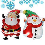 2pcs / lot snowman papai noel balões red pai moldar balões de folha