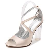 baratos Sapatos Femininos-Mulheres Sapatos Cetim Primavera / Verão Plataforma Básica / Tira no Tornozelo / Shoe transparente Sandálias Salto Robusto / Heel