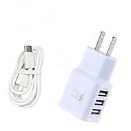 Oplader til hjemmet / Lille og mobil oplader USB oplader US Stik / EU  Stik Hurtig opladning / Multiporte 3 USB-porte 3.1 A for