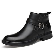 メンズ 靴 ナパ革 春 秋 ファッションブーツ ブーツ ミドルブーツ ベックル 用途 カジュアル パーティー ブラック