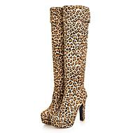 abordables -Femme Chaussures Flocage Hiver Automne Confort Nouveauté Bottes à la Mode Bottes Talon Bottier Bout rond Bottes pour Habillé Noir Marron
