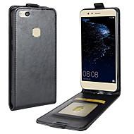billiga Mobil cases & Skärmskydd-fodral Till Huawei P10 Lite Korthållare Lucka Fodral Ensfärgat Hårt PU läder för P10 Lite P8 Lite (2017) Honor 9 Nova 2 Plus Nova 2 Huawei