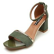 baratos Sapatos Femininos-Mulheres Sapatos Couro Ecológico Primavera / Outono Solados com Luzes Sandálias Salto de bloco Dedo Aberto Presilha Preto / Verde Tropa /