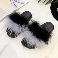 Kadın Ayakkabı Tüy / Kürk Kış Rahat Kürk Astar Terlik & Flip-flops Düz Topuk Yuvarlak Uçlu Tüy Uyumluluk Günlük Siyah Gri Fuşya Kırmzı